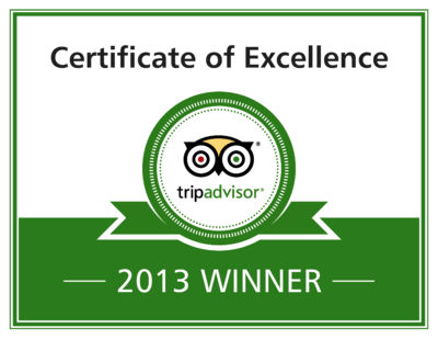 We are a 2013 TripAdvisor Certificate of Excellence Winner!